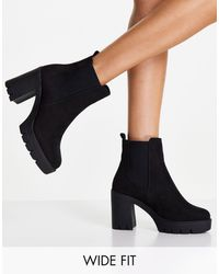 ASOS Wide Fit Eve Heeled Chunky Chelsea Boots - Black