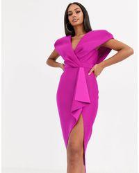 ASOS Self Stripe Cape Sleeve Midi Pencil Dress-blue - Pink
