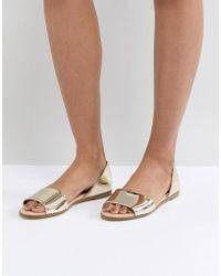 d4dc88f9717c56 London Rebel Tie Ankle Espadrille Sandal in Metallic - Lyst