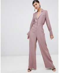 77b16063343f ASOS - Minimal Tux Jumpsuit With Wide Leg And Satin Detail - Lyst