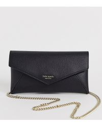 Kate Spade Sylvia Leather Chain Clutch Bag In Black