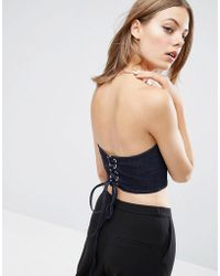 ASOS - Denim Corset In Indigo With Lace Up Back - Lyst