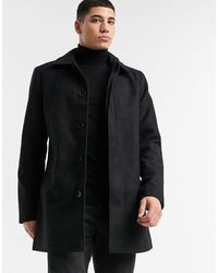 French Connection Single Breasted Collar Coat - Black