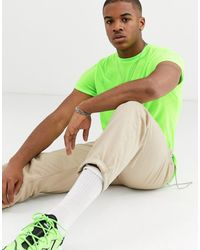 ASOS T-shirt With Crew Neck And Roll Sleeve In Neon Green