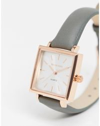 Brave Soul Faux Leather Watch With Square Dial - Gray