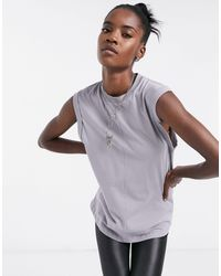 ASOS Oversized Tank Top With Roll Sleeve And Seam Detail - Grey