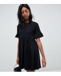 ASOS - Asos Design Tall Cotton Slubby Frill Sleeve Smock Dress - Lyst