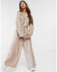 ASOS Slouchy Button Front Cord Jumpsuit - Brown