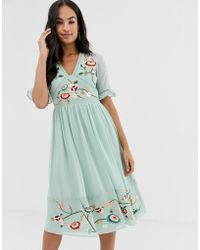 ASOS - Embroidered Midi Dress With Lace Trims - Lyst
