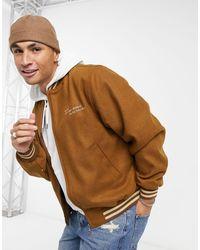 ASOS Asos Actual Wool Mix Varsity Bomber Jacket - Brown