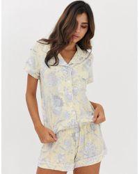 DORINA Stephanie Modal Floral Print Pyjama Top In Yellow