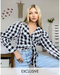 Reclaimed (vintage) Inspired - blouse cache-cœur à manches bouffantes et col oversize - carreaux - Multicolore