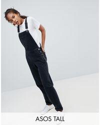 ASOS ASOS DESIGN Tall - Salopette en jean - délavé - Noir