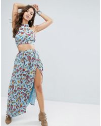 Glamorous Wrap Front Maxi Skirt In Floral Print Co-ord - Blue