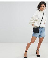 Vero Moda Short en jean bords festonns - Bleu
