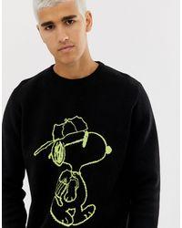Pull&Bear Snoopy - Pull à imprimé fluo - Noir