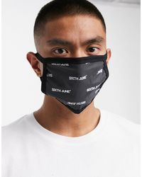 Sixth June All Over Logo Reflective Face Covering - Black