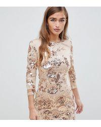 TFNC London Floral Sequin Mini Bodycon Dress In Rose Gold - Metallic