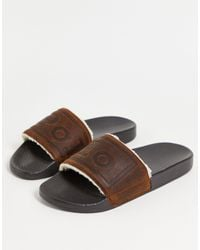 Polo Ralph Lauren Borg & Suede Slider With Logo - Brown