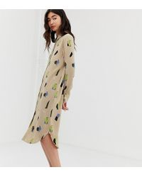 fb218d0b1 Monki - Midi Shirt Dress With Face Print In Beige - Lyst