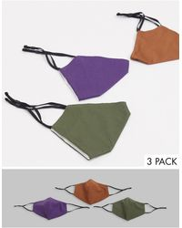 ASOS 3 Pack Face Covering With Adjustable Straps And Nose Clip - Multicolour