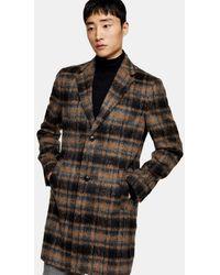 TOPMAN Brushed Overcoat - Multicolour