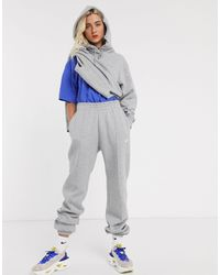 Nike Худи В Стиле Oversized Серого Цвета -серый