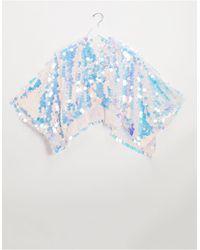 ASOS Holographic Sequin Cape - Blue