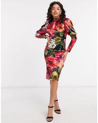 Chi Chi London Атласное Платье С Цветочным Принтом -многоцветный - Красный
