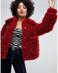 Missguided - shaggy Borg Jacket In Red - Lyst