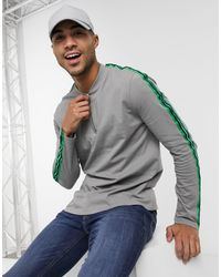 ASOS Long Sleeve T-shirt With Zip Neck And Sleeve Tape - Grey
