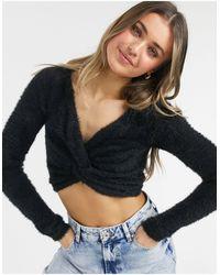 Threadbare Пушистый Укороченный Джемпер, Перекрученный Спереди -черный Цвет