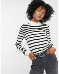 Object Thess Turtleneck Stripe Knit Jumper - White