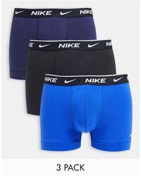 Nike Набор Из Трех Хлопковых Эластичных Боксеров-брифов Черного/темно-синего/синего Цветов -черный Цвет