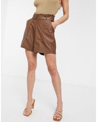 ASOS Leather Look Short With Pockets And Paperbag Waist - Brown