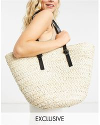South Beach Straw Tote In Natural