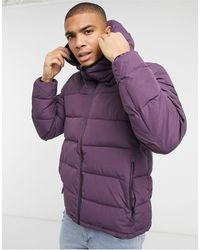 Pull&Bear Фиолетовая Дутая Куртка С Капюшоном -фиолетовый - Пурпурный