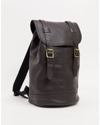 ASOS Leather Backpack - Brown