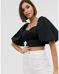 ASOS Sweetheart Twist Front Top In Scuba With Puff Sleeve And Tie Back - Black