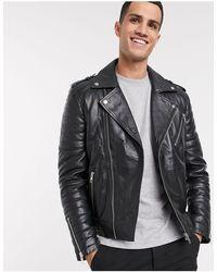 Barneys Originals Full Zip Leather Biker Jacket - Black