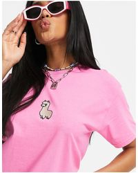 New Love Club Oversized T-shirt With Embroidered Llama - Pink