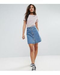 Noisy May Tall - Button Front Denim Mini Skirt - Lyst