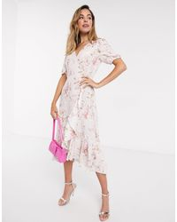 Forever New Платье Миди Цвета Слоновой Кости С Цветочным Принтом, Запахом И Завязкой -белый