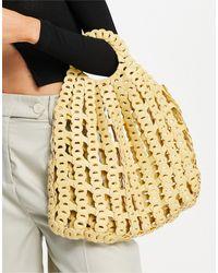 TOPSHOP Woven Grab Handle Bag - White