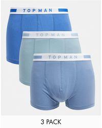 TOPMAN Набор Из 3 Боксеров-брифов Синих И Голубых Оттенков -многоцветный - Синий