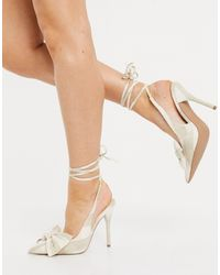 ASOS Peony Tie Leg Bow High Heeled Shoes - Natural