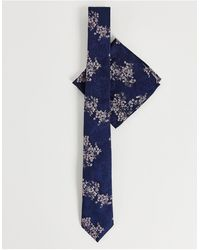 Burton - Набор Темно-синего Цвета Из Галстука И Платка Для Пиджака С Цветочным Принтом Burton China-темно-синий - Lyst