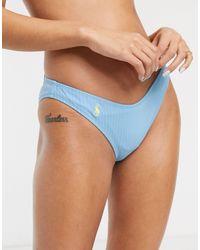 Polo Ralph Lauren Ribbed V Shape Bikini Bottom - Blue