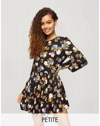 Miss Selfridge Floral Print Smock Dress - Black