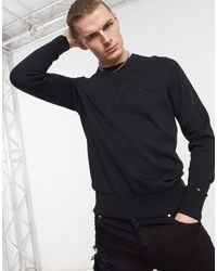 Tommy Hilfiger Tonal Autograph Logo Embroidery Knit Jumper - Black